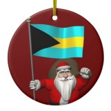 Santa Claus With Flag Of Bahamas