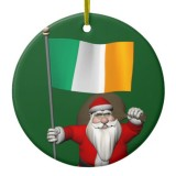 Santa Claus With Flag Of Ireland