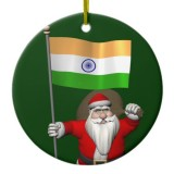 Santa Claus With Flag Of India