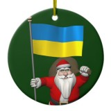 Santa Claus With Flag Of Ukraine