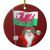 Santa Claus With Flag Of Wales