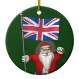 Santa Claus With Flag Of United Kingdom