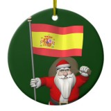 Santa Claus With Flag Of Spain