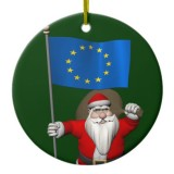 Santa Claus With Flag Of European Union