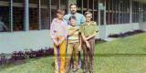 1970/1971 - Mr. Zimmerman (Bob) with his 6th grade students Rod Cox, Danny Todd and Mike Coleman at Palm Springs Elementary