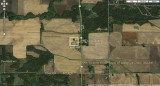Aerial view of Stevens Cemetery just west of Illinois state road 26 in Lee County 6.8 miles north of Ohio, Illinois (zoomed out)