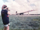 1987 - Christy Cricket Sullivan photographing the British Airways Concorde taking off at Miami International Airport
