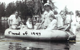1947 - the Frank Carey family in a raft in Miami Springs enroute to get typhoid shots during the flood of 1947