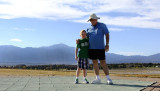 October 2014 - Kyler and grandpa Don Boyd at Peterson AFB with Pike's Peak in the background