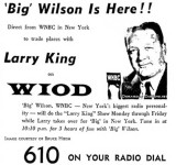 1964 - WIOD advertisement for 'Big' Wilson temporarily trading places with Larry King on 610-AM radio