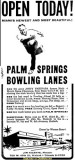 1959 - newspaper advertisement for the grand opening of Palm Springs Lanes on March 1st