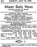 1943 - publication information about the Miami Daily News, oldest newspaper in Miami