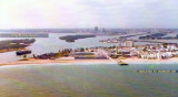 1976 - aerial view looking west at  Government Cut, the real South Beach, Miami Beach Kennel Club, the fishing pier