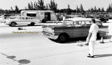 1960's - 1957 Chevy wagon and 1958 Chevy Bel Air drag racing at Master's Field, Dade County