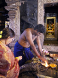Devotee offering Puja, Kudroli Gokarnath Temple, Mangalore, India.