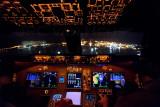 Landing Hongkong Airport. 747-8 flightdeck