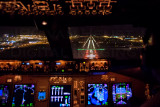 Landing in Hongkong, as seen from the 747-8 Flightdeck