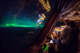 Northern lights (Aurora Borealis) as seen from the 747-8 flightdeck