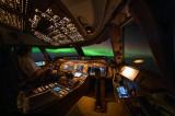 Northern lights (Aurora Borealis) as seen from the 747-8 flightdeck