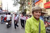 Janet near the main market - Hanoi, Vietnam