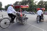 Fran returning to the Aranya Hotel via rickshaw - Hanoi, Vietnam
