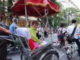 Janet returning to the Aranya Hotel via rickshaw - Hanoi, Vietnam