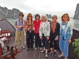 The women of our group aboard the Treasure Junk in Ha Long Bay, Vietnam. We all stayed overnight aboard this cruise ship