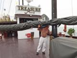 Stan doing some heavy lifting on our cruise ship, the Treasure Junk - Ha Long Bay, Vietnam