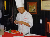 Chef teaching us how to prepare garnishes - aboard the Treasure Junk in Ha Long Bay, Vietnam