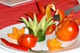Finished product of our lesson on how to prepare garnishes - aboard the Treasure Junk in Ha Long Bay, Vietnam