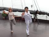 Fran learning T'ai Chi aboard the Treasure Junk in Ha Long Bay, Vietnam