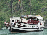 Another cruise ship similar to ours in size in Ha Long Bay, Vietnam