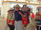 Helen and Stan in their new native hats (to protect them from the sun) - My Tho, Mekong Delta, Vietnam