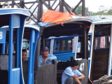 Captains with their boats in the My Tho River - used to transport tourists to nearby islands - My Tho, Mekong Delta, Vietn