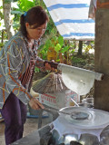 Making rice paper - on an island near My Tho in the Mekong Delta, Vietnam