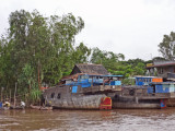 Boats along the Mekong River - in Vietnam while traveling by boat from Chau Doc, Vietnam to Phnom Penh, Cambodia