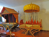 Historical examples of howdahs (carriages for humans on elephants) - exhibit at the National Museum of Cambodia - Phnom Penh