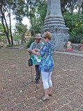 Janet talking to a Cambodian near the Wat Phnom Temple - Phnom Penh, Cambodia