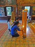 Inside the Wat Phnom Temple - the most famous Buddhist temple in Phnom Penh, Cambodia