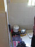 Kitchen of our sponsored young ladies seen in the previous photo - a rice cooker and a hot plate - Phnom Penh, Cambodia