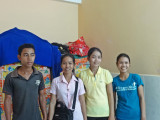 Some of our other sponsored college young ladies in their room with a male cousin of one of them - Phnom Penh, Cambodia