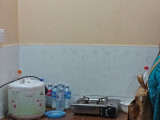Another kitchen of some of our sponsored college young ladies - a rice cooker and hot plate - Phnom Penh, Cambodia