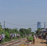Walking on a road after leaving the room of some of our other sponsored college young ladies - Phnom Penh, Cambodia