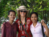 Fran with two of our sponsored young ladies (college students) - Phnom Penh, Cambodia
