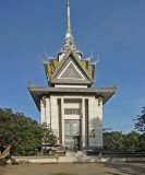Commemorative stupa filled with skulls of Khmer Rouge victims at the Killing Fields of Choeung Ek - Phnom Penh, Cambodia