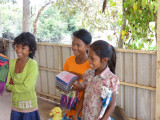 Young vendors at a lunch stop - on our way to see our sponsored high school young ladies - Cambodia