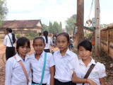 Students in school uniform - a rural village in the Sandan District of the Kompong Thom Province, Cambodia
