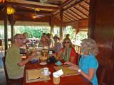 Helen, Fran, Sally and Alan - breakfast at the Sambo Village Hotel, Kompong Thom Province, Cambodia