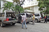 Our SUV caravan arriving at the FCC Angkor Boutique Hotel (and spa) in Siem Reap, Cambodia