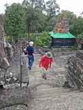 Sally, Stan and Alan exploring the 9th century c.e. Bakong Temple - part of the  Roluos Group, Cambodia.